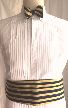 English Silk Repp Cummerbund and Bow Tie set NAVY/YELLOW SILK