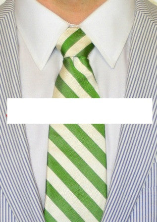 ENGLISH SILK REPP STRIPE LONG TIE GREEN/WHITE