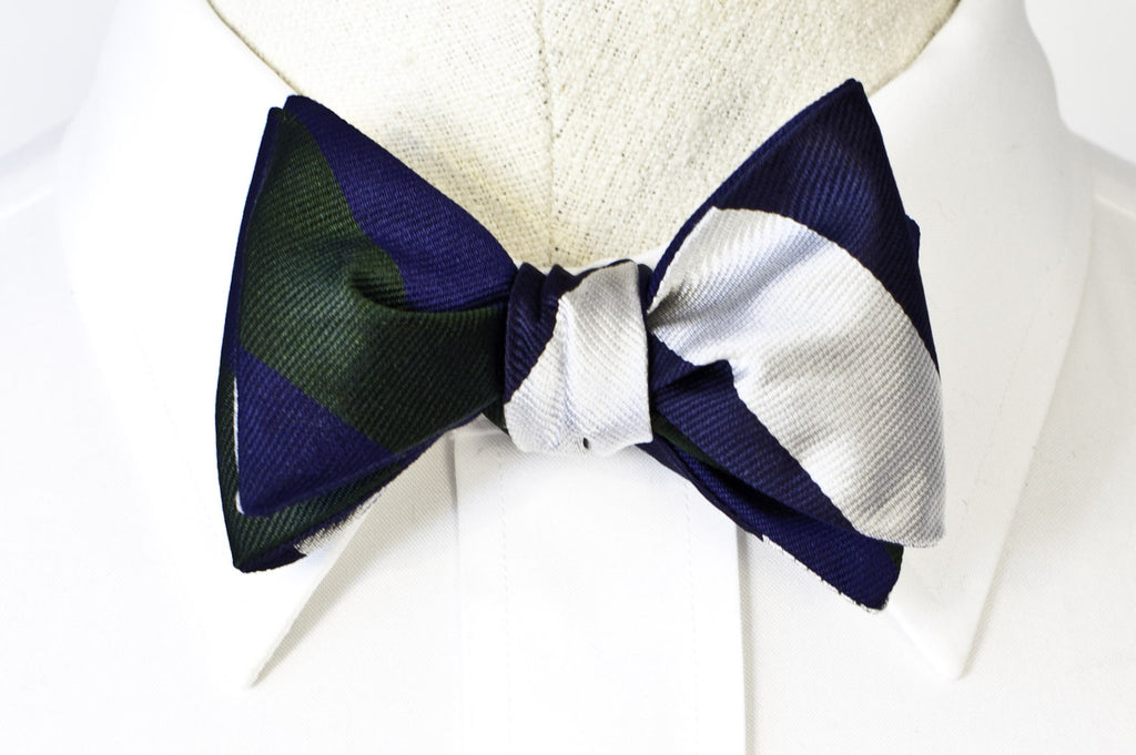GREEN/NAVY + NAVY/WHITE Reversible Bow Tie