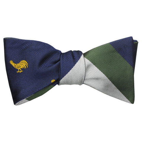GOLD ROOSTER ON NAVY + NAVY/GREEN/WHITE REVERSIBLE SILK BOW TIE
