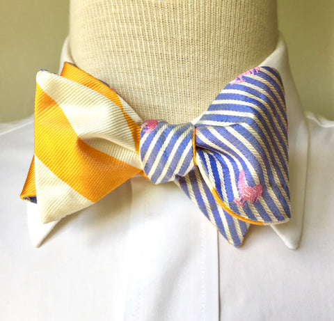STRAW BOATER REVERSIBLE SILK BOW TIE