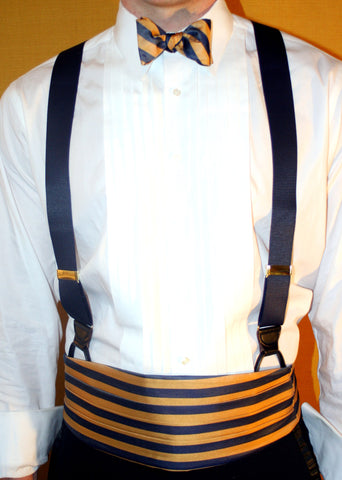 English Silk Repp Cummerbund ONLY NAVY/GOLD