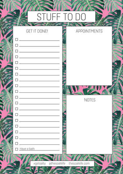 free printable downloadable tropical organisers and to do lists