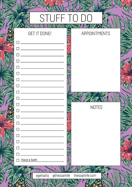The Soak Life To Do List Free Downloadable - Tropical Vibes Print