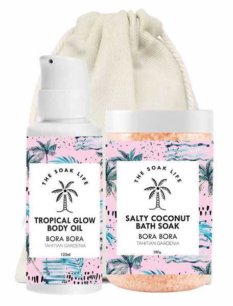 The Soak Life Bora Bora Gift Set - Glow Kit - tropical Glow body oil and Salty Coconut Bath Soak