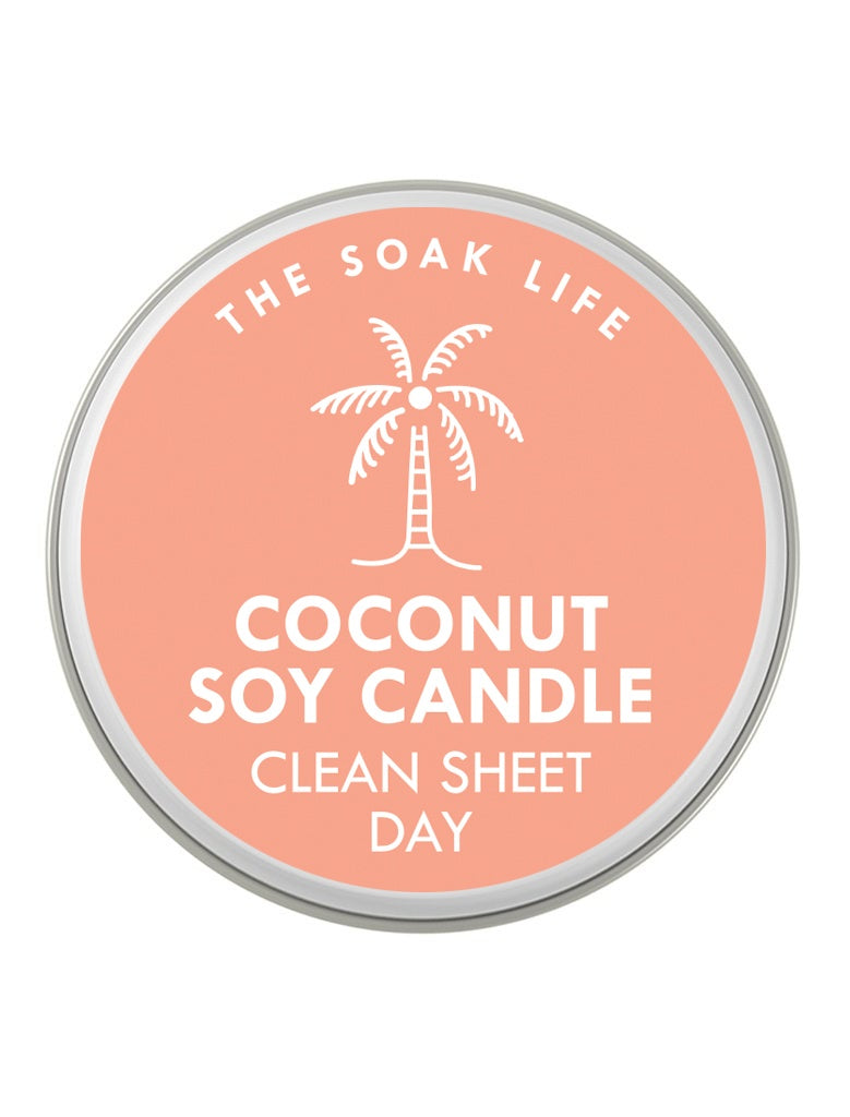 The Soak Life Candle - Clean Sheet Day Coconut Soy Travel Candle