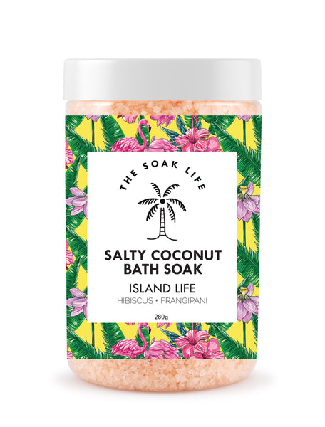 The Soak Life Bath Salts - Island Life Salty Coconut Bath Soak Hibiscus Frangipani