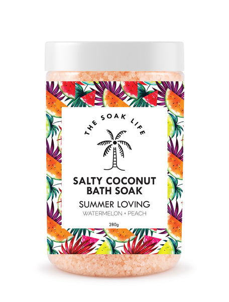 The Soak Life Bath Salt - Summer Loving Salty Coconut Bath Soak - watermelon peach