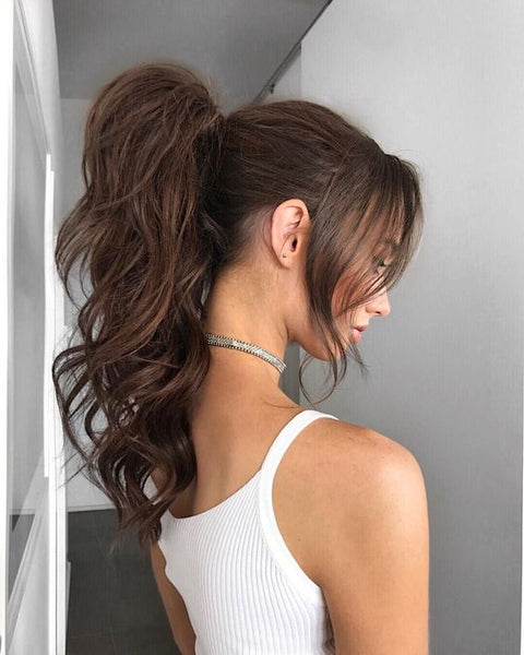 bridal ponytail with halo hair extensions