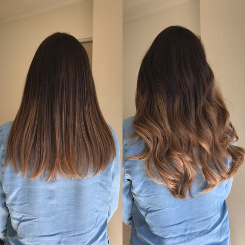 brown balayage before and after halo hair extensions