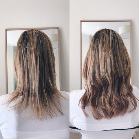 before and after thicker balayage hair with halo hair extensions