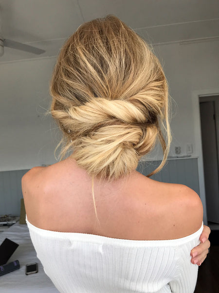 bridal twisted bun hairstyle