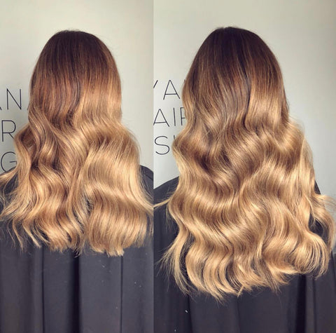 before and after picture of brown balayage with halo hair extensions