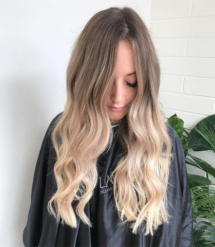 blonde balayage after halo hair extensions