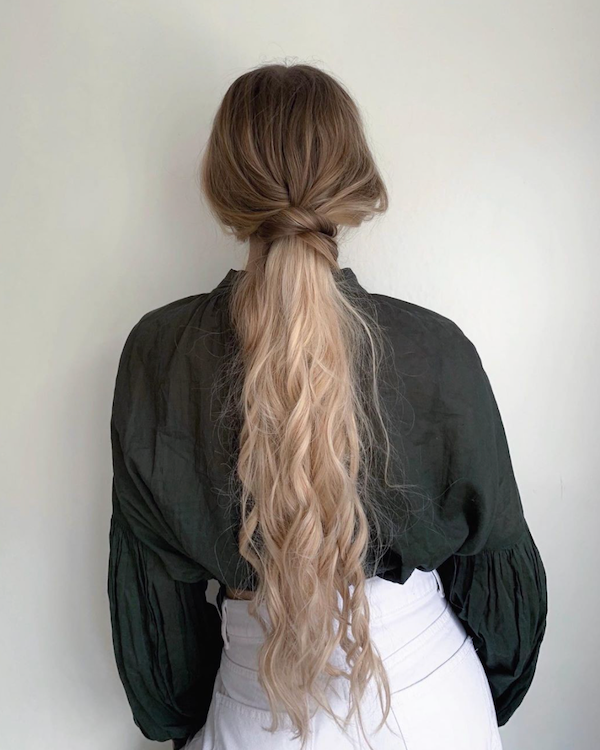 Christmas party hairstyles halo hair extensions ponytails