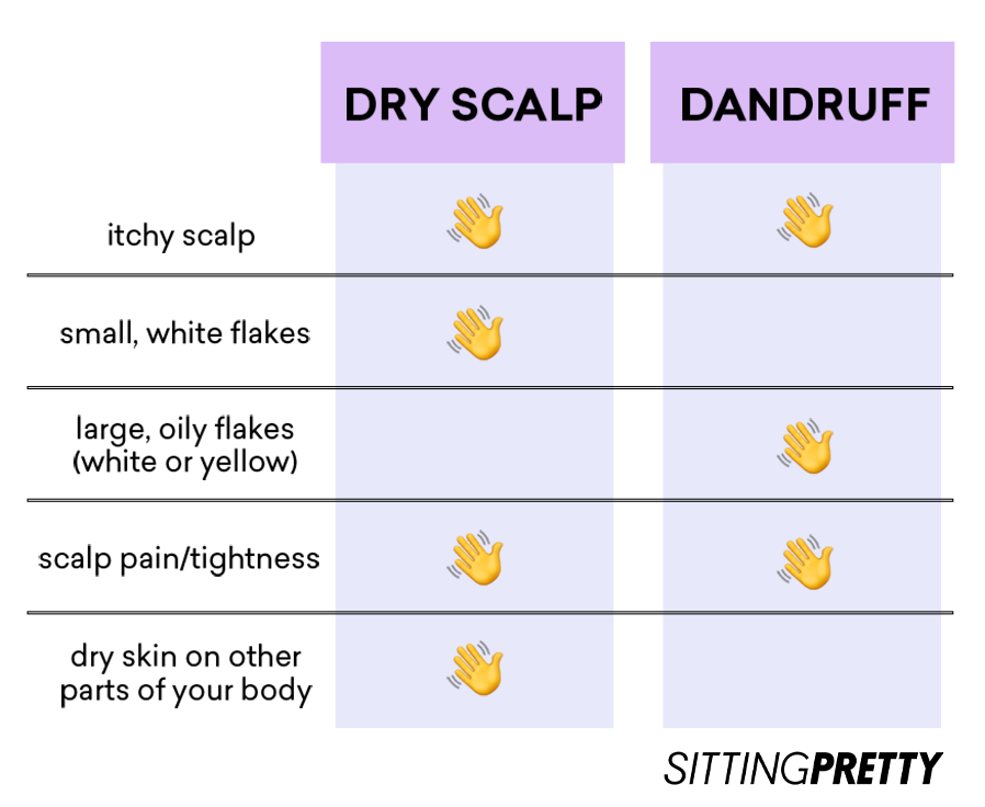 table illustrating is dry scalp the same as dandruff