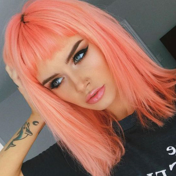 pastel hair colors: peachy pink