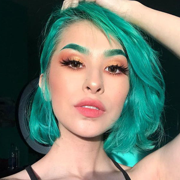 pastel hair colors: deep aqua green