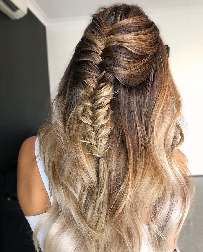 braided halo extension hairstyle without dry scalp or dandruff