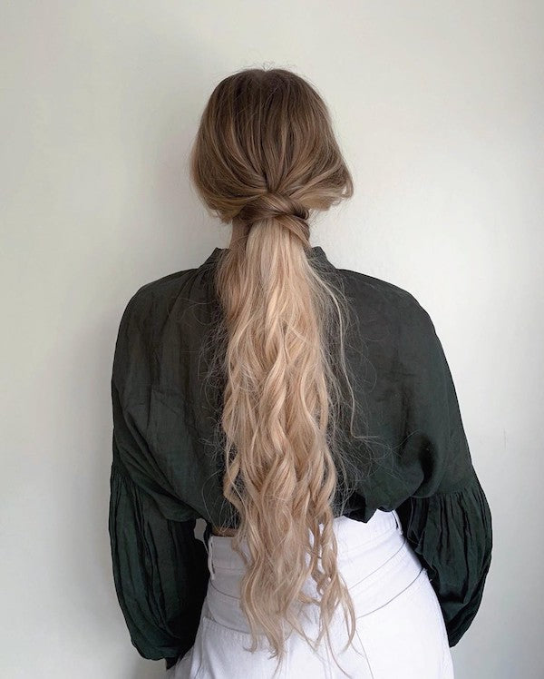 simple hairstyles low ponytails halo hair extensions