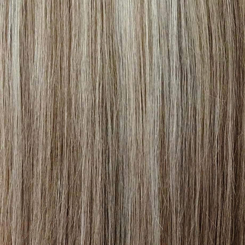 ash blonde and light brown halo hair extension }}