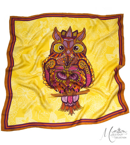 Marrero Collection Boho Chic Owl Square Silk Scarf
