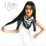 Marrero Collection Black & White Geometric Square Silk Scarf