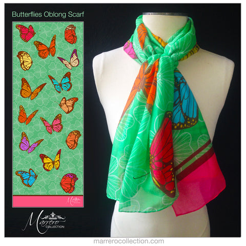 SALE ITEM * Marrero Collection Boho Long Butterfly Print Scarf