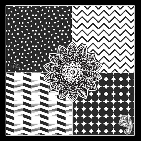 SOLD OUT -Marrero Collection Black & White Geometric Square Silk Scarf