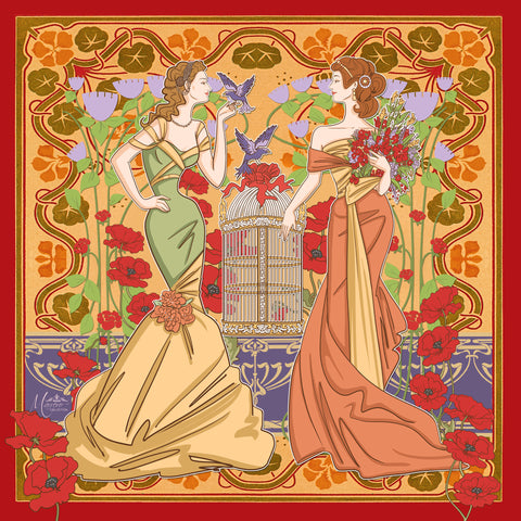 Marrero Collection Art Nouveau Square Silk Scarf