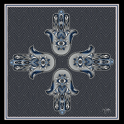 Marrero Collection HAMSA Square Silk Scarf