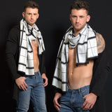 Men's Scarf - Black & White (reversible)