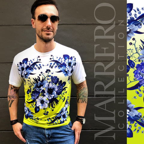 Blue Flowers & Chartreuse  Print Male T-Shirt