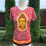 Sold out-BUDDHA Print V-Neck Female T-Shirt