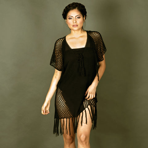 Black V Neck Lace up Fishnet Fringe Kaftan strappy beach dress