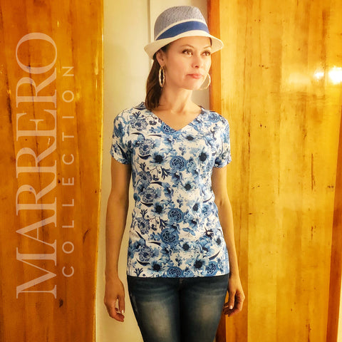 Blue China Pattern Women's V-Neck