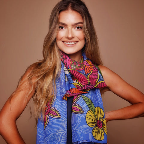 Blue Floral Pattern Scarf