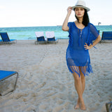 Sold Out- Colbalt - V Neck Lace up Fishnet Fringe Kaftan strappy beach dress