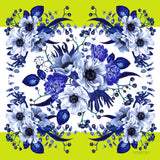 Chartreuse  and blue flowers Square Silk Scarf