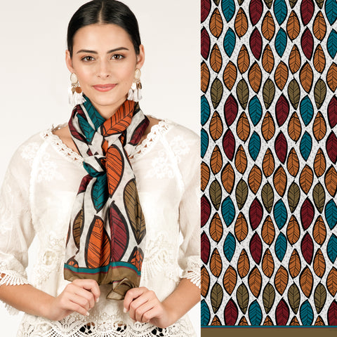 *SALE* Leaf Print Oblong Scarf