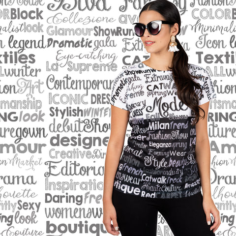 Fashion Words Pattern Women's V-Neck or Crew