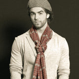 Men's Scarf - Burgundy & Heather Gray