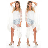 SOLD OUT--- Marrero Collection - Long Kaftan White Polka Dot
