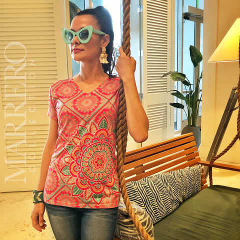 Pink Mandala Pattern Women's V-Neck