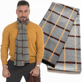 Men's Scarf - Mustard, Brown checkered on heather gray