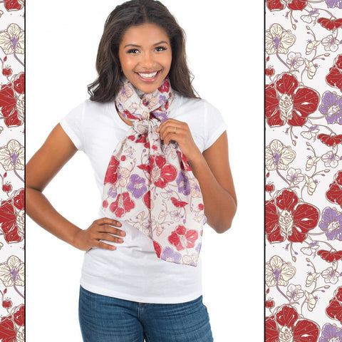 Orchid Print Oblong Scarf