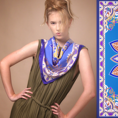 Blue Mandala Square Silk Scarf