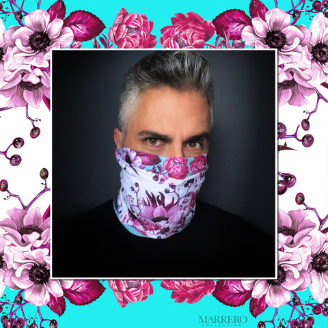 Teal & Pink Print  Face Shield