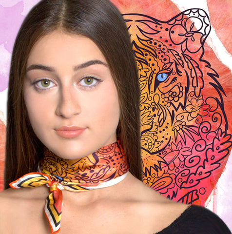 Marrero Collection Eye Of The Tiger Small Silk Scarf
