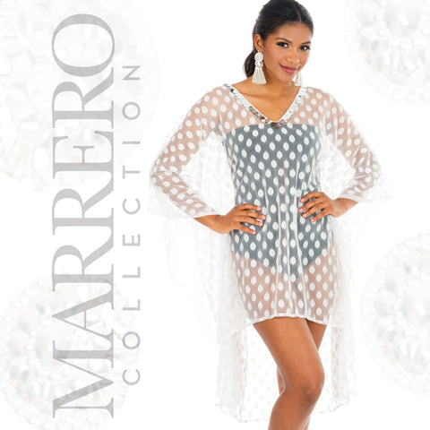 Short Kaftan White Polka Dot